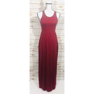 Grecerelle women's burgundy maxi dress with pocket